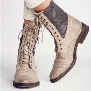 Free people sounder leather military combat boots